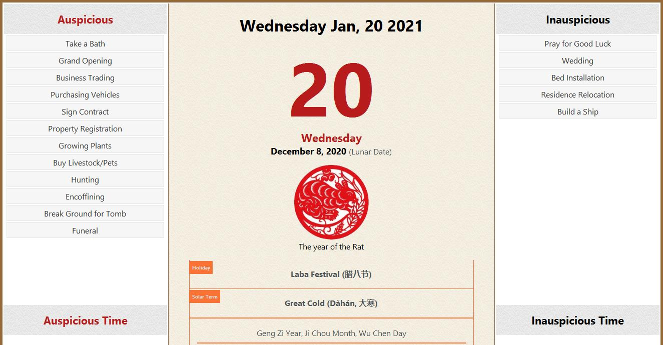 January 20, 2021 Almanac Calendar: Auspicious/Inauspicious ...
